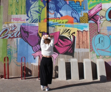 Graffiti with Black Culottes Pants