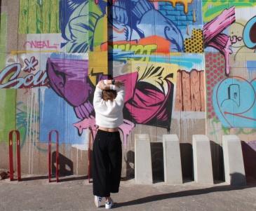 Graffiti with Black Culottes Pants
