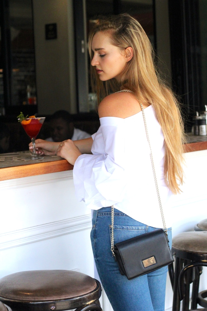 Trashcan Rebellion Wearing Shein White Layered Sleeve Bow Tie Off the Shoulder Top 6