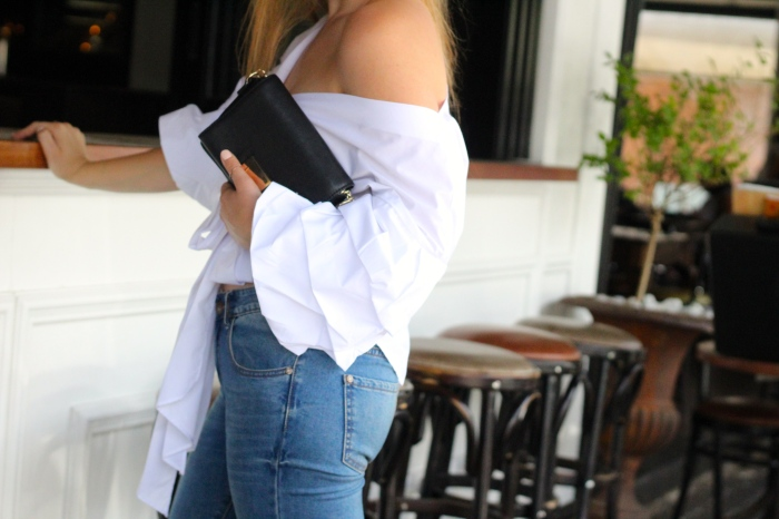 Trashcan Rebellion Wearing Shein White Layered Sleeve Bow Tie Off the Shoulder Top 3